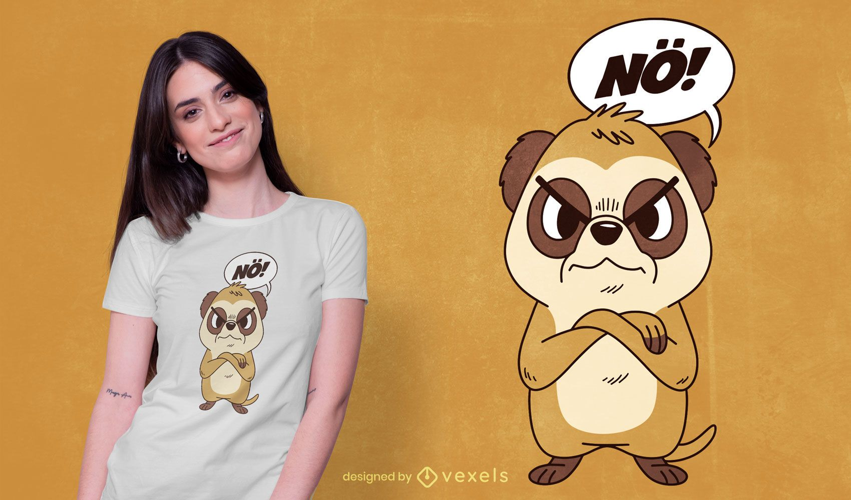 Angry meerkat t-shirt design
