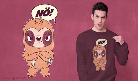 Diseño de camiseta de perezoso enojado
