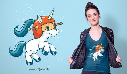 Design de camiseta de unicórnio espacial