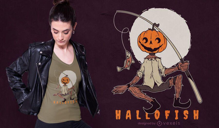 Diseño de camiseta de calabaza hallofish