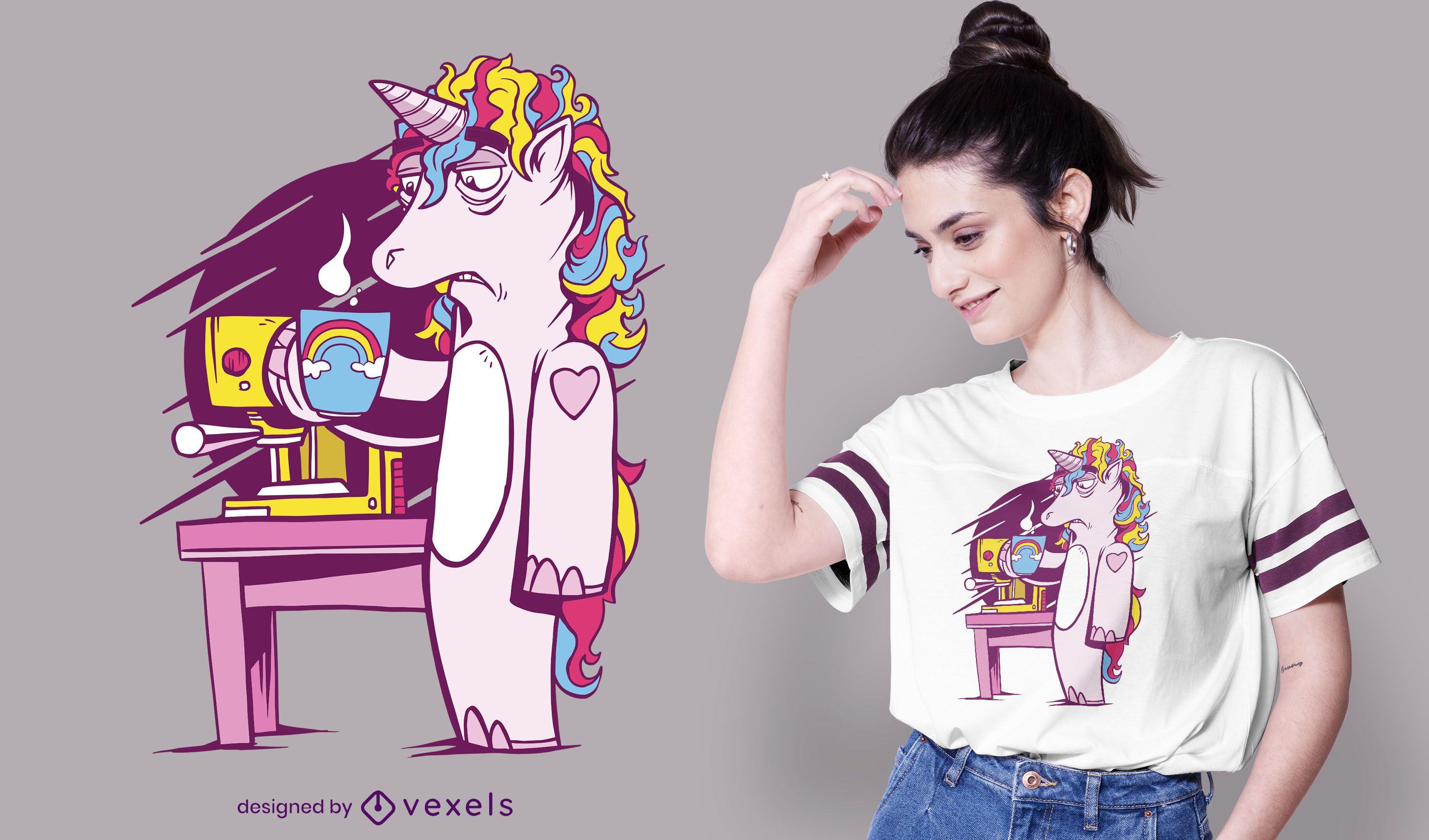 Tired unicorn with coffee t-shirt design