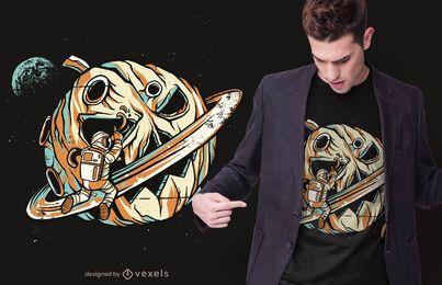 Design de t-shirt de planeta abóbora