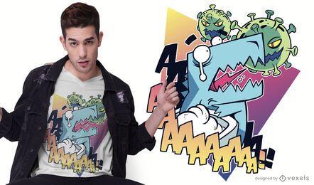 Design de camiseta de dinossauro Coronavirus