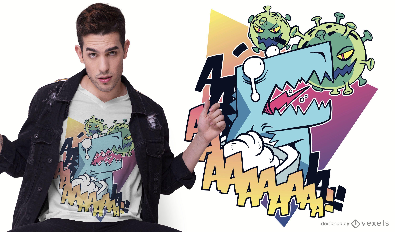 Diseño de camiseta de dinosaurio coronavirus.
