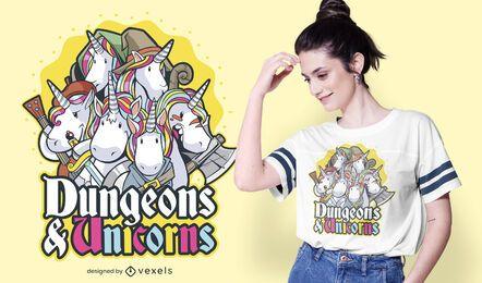 Diseño de camiseta de mazmorras y unicornios