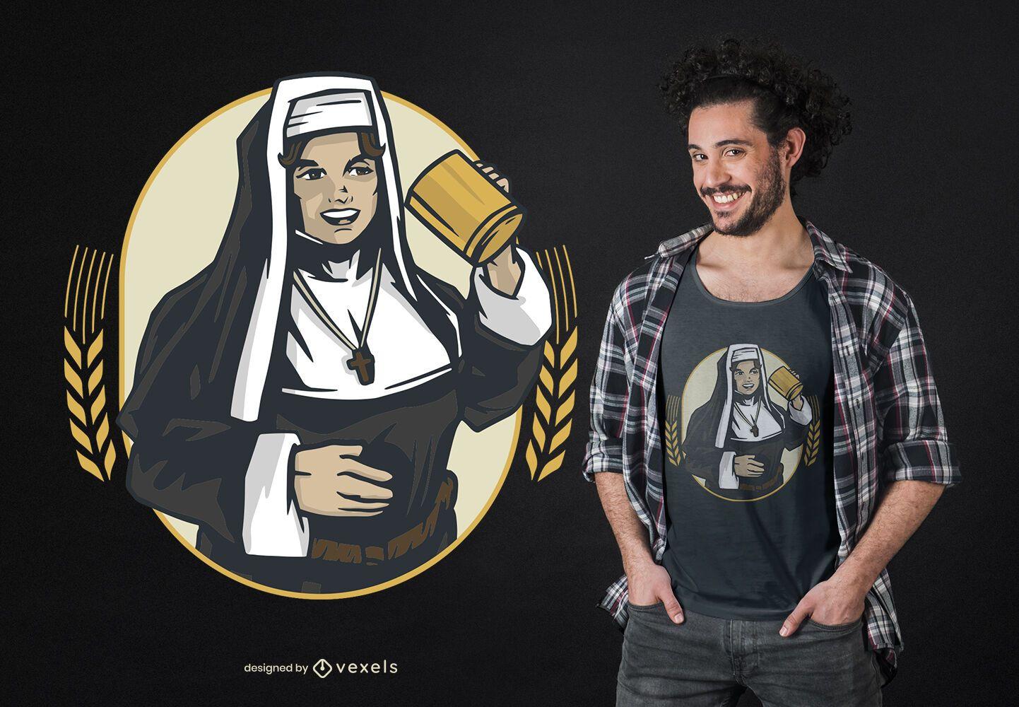 Diseño de camiseta de monja bebiendo
