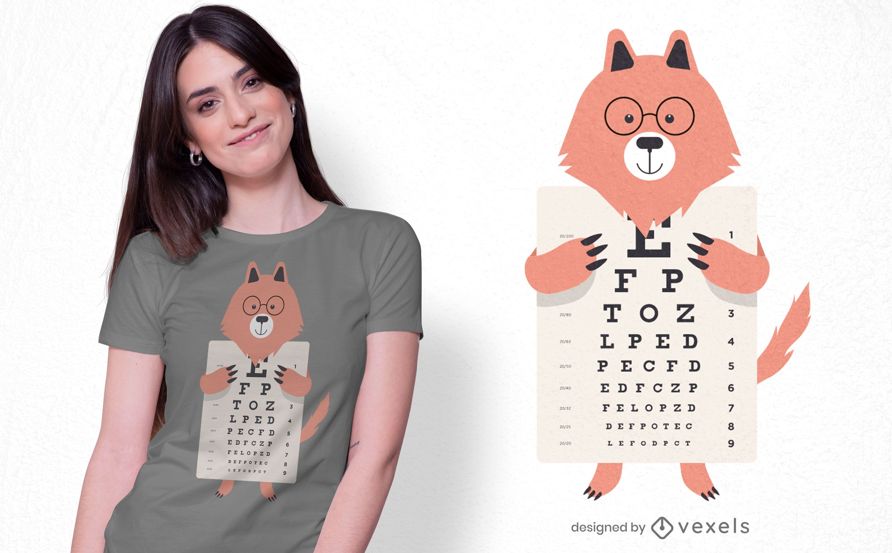 Design de camiseta Wolf Eye Chart