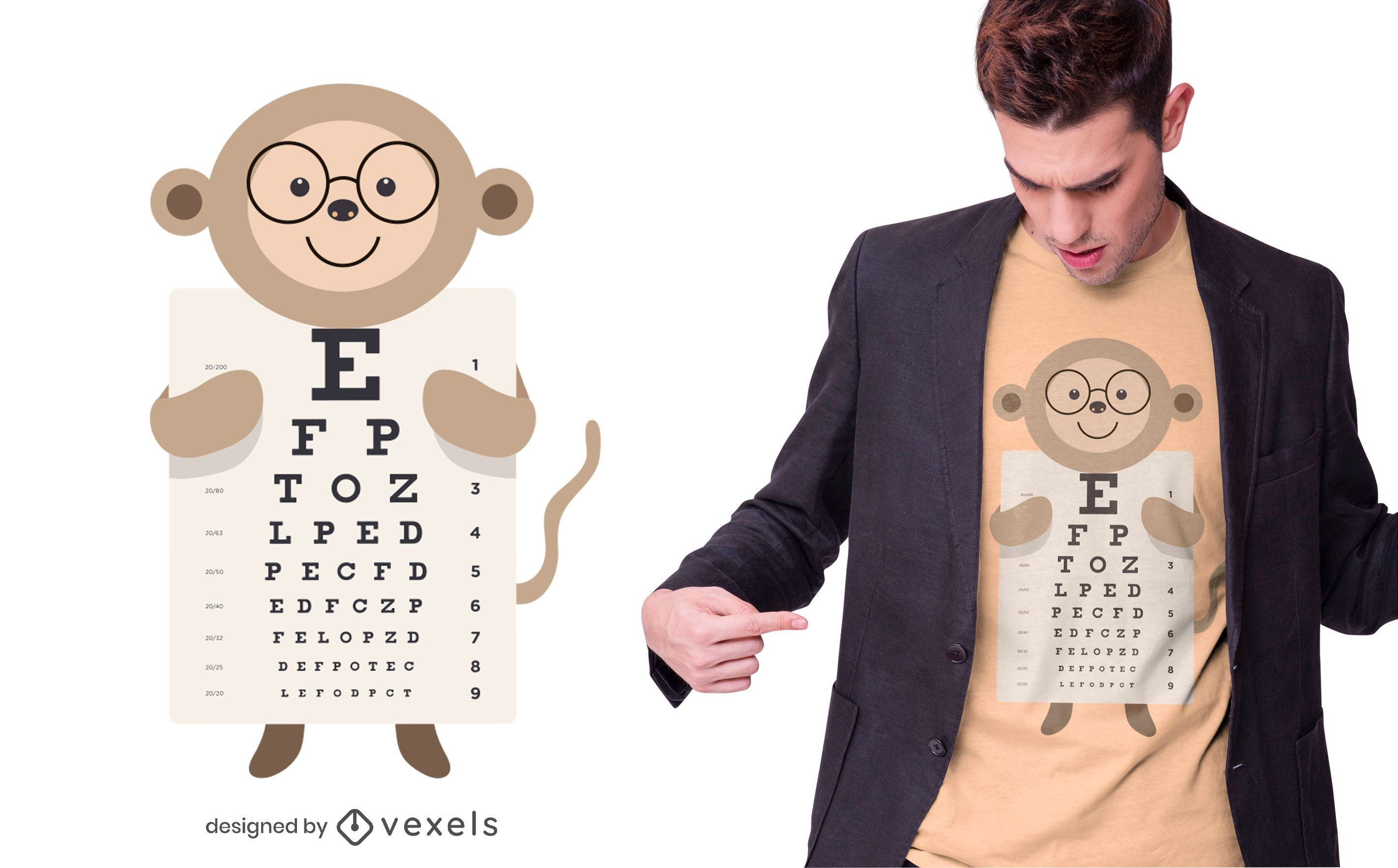 Monkey eye chart t-shirt design