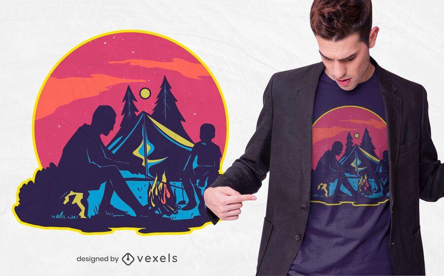 Diseño de camiseta de camping nocturno.