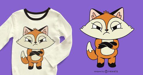 Diseño de camiseta de zorro enojado