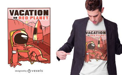 Diseño de camiseta de marte vacaciones
