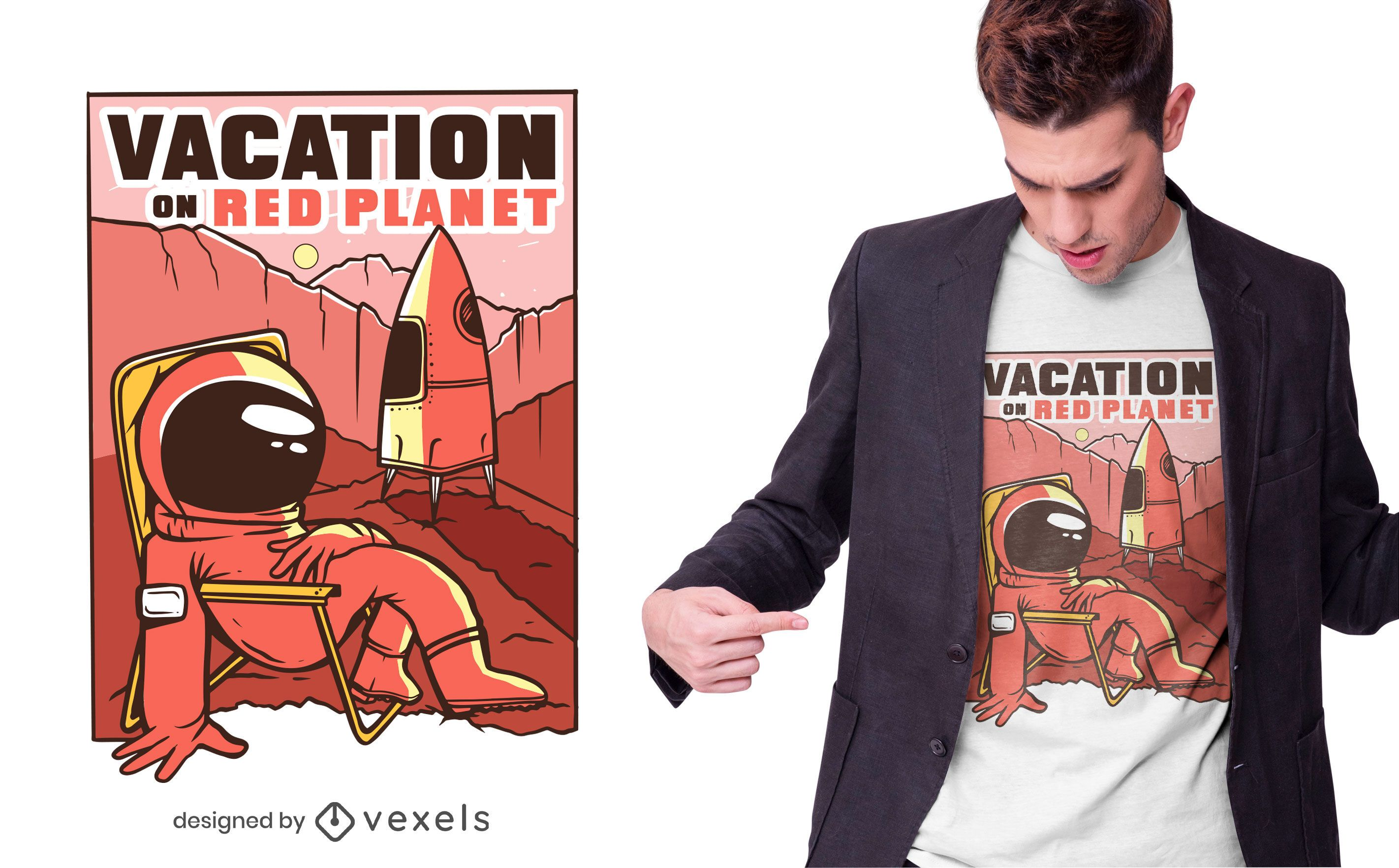 Mars vacations t-shirt design