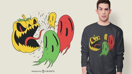Diseño de camiseta de fantasmas de calabaza