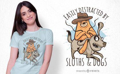 Design de t-shirt para cão a andar em preguiça
