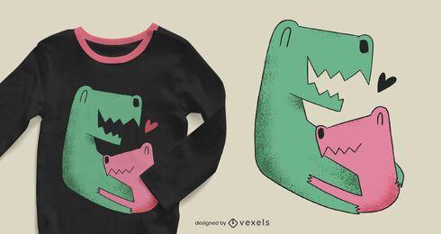 Design de camisetas para a família dos dinossauros