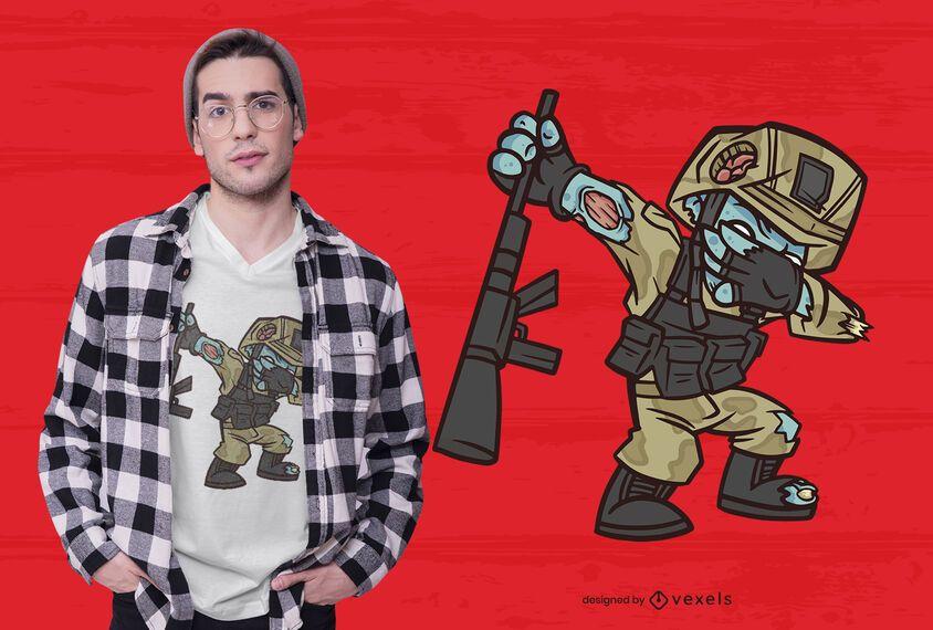 Diseño de camiseta militar zombie dabbing