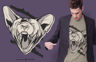 Diseño de camiseta de gato esfinge enojado