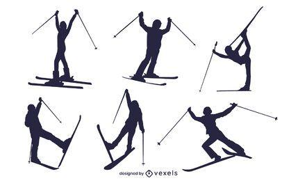 Skiers silhouette set