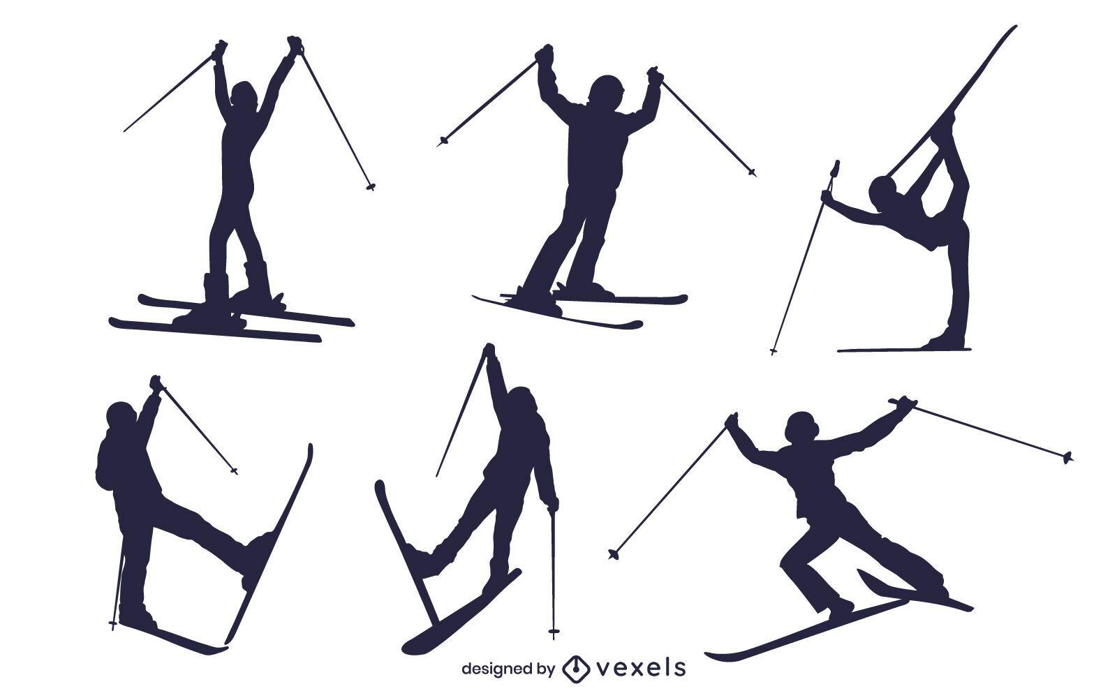 Conjunto de silueta de esquiadores