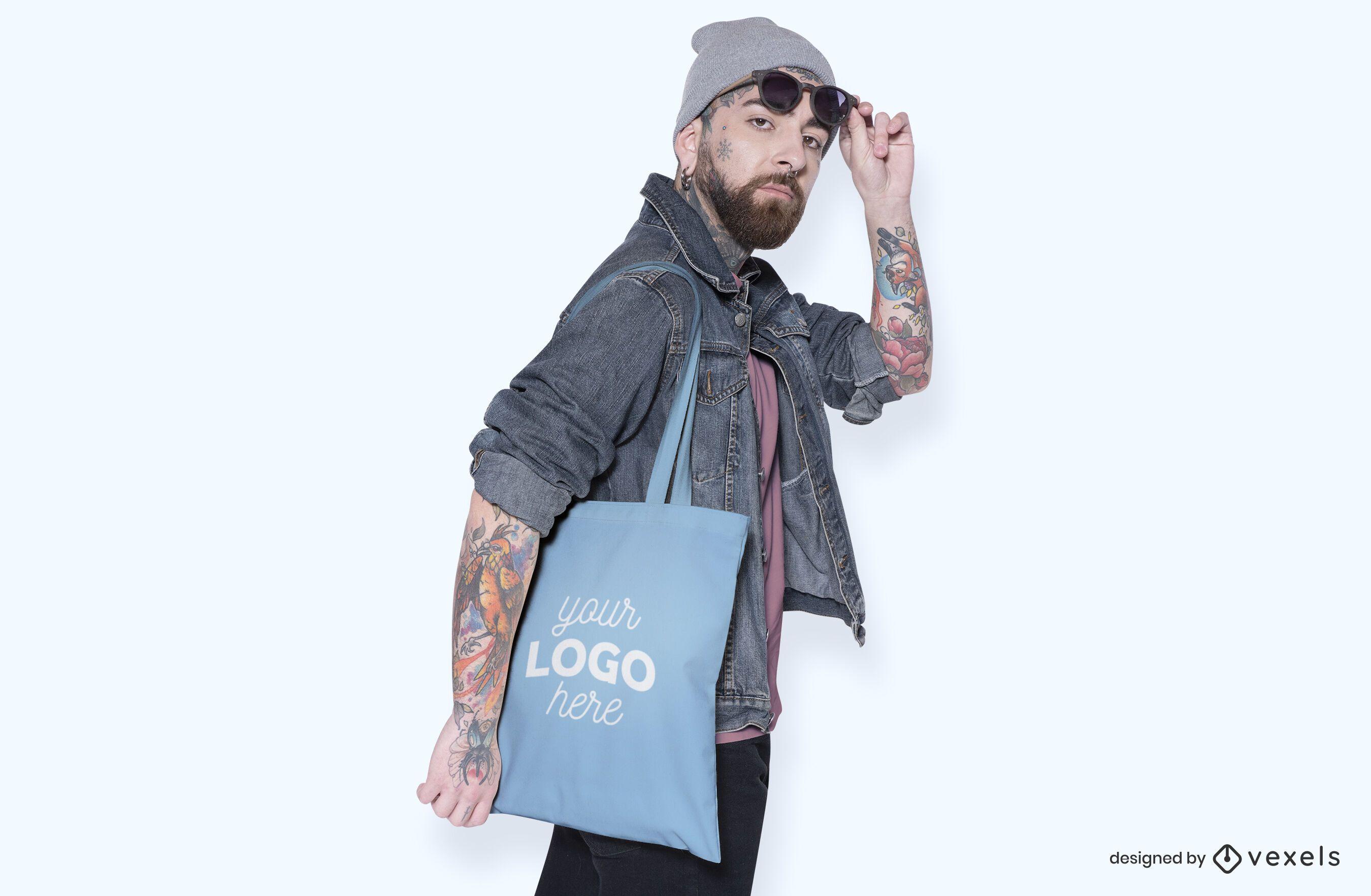 Model tote bag mockup design