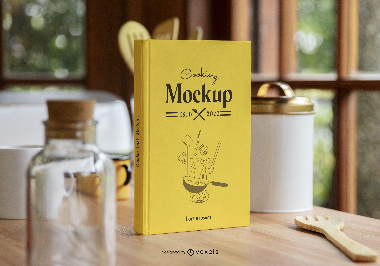 Composición de maqueta de libro de cocina de tapa dura