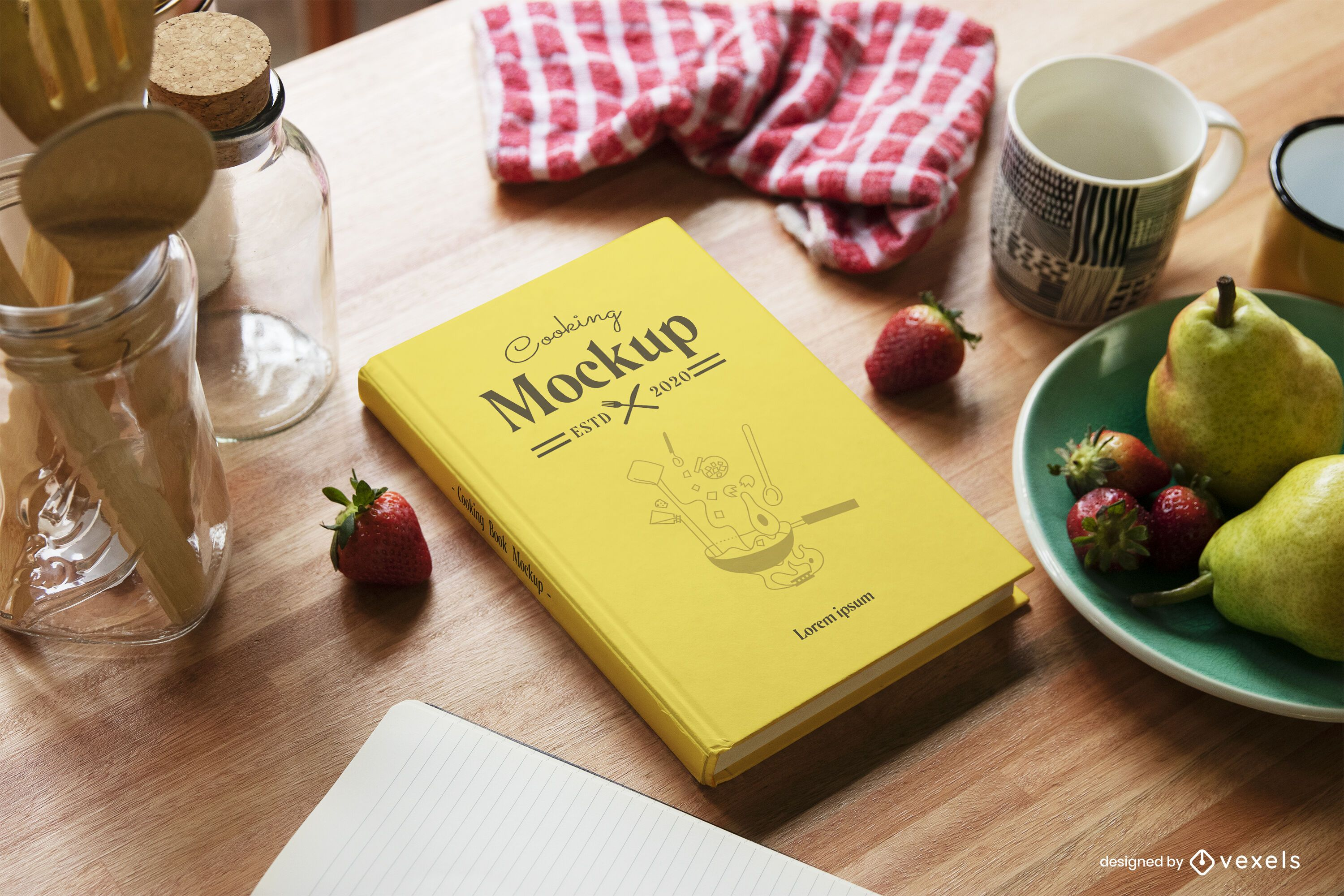Cooking book hardcover mockup composition