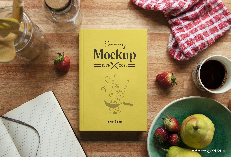 Composição de maquete de cozinha de livro de culinária