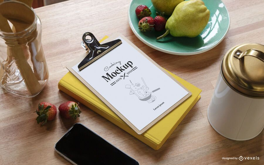 Cooking clipboard composition mockup