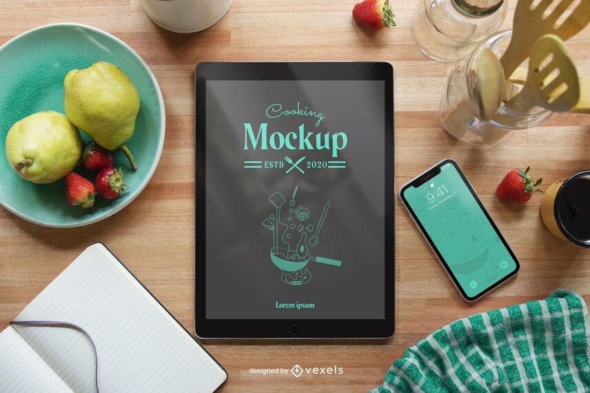 Tablet cooking mockup composition