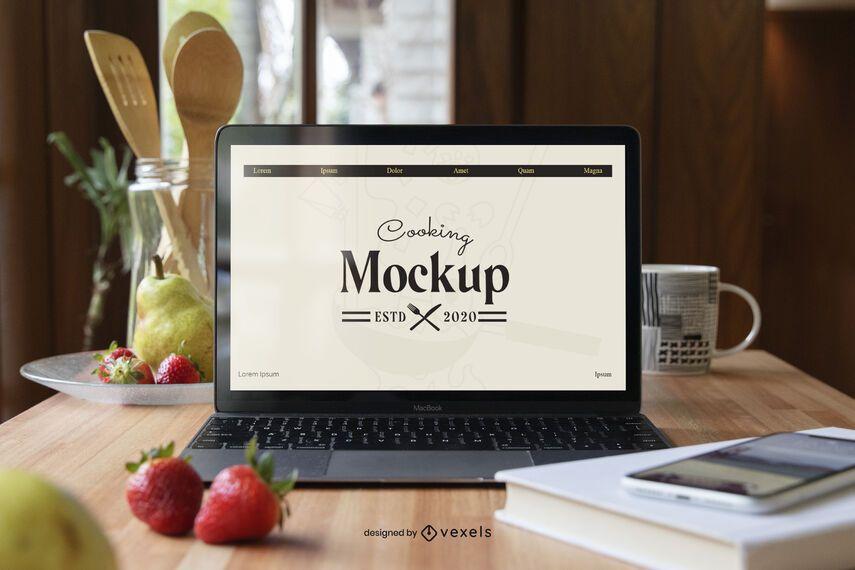 Composição de maquete de cozinha para laptop
