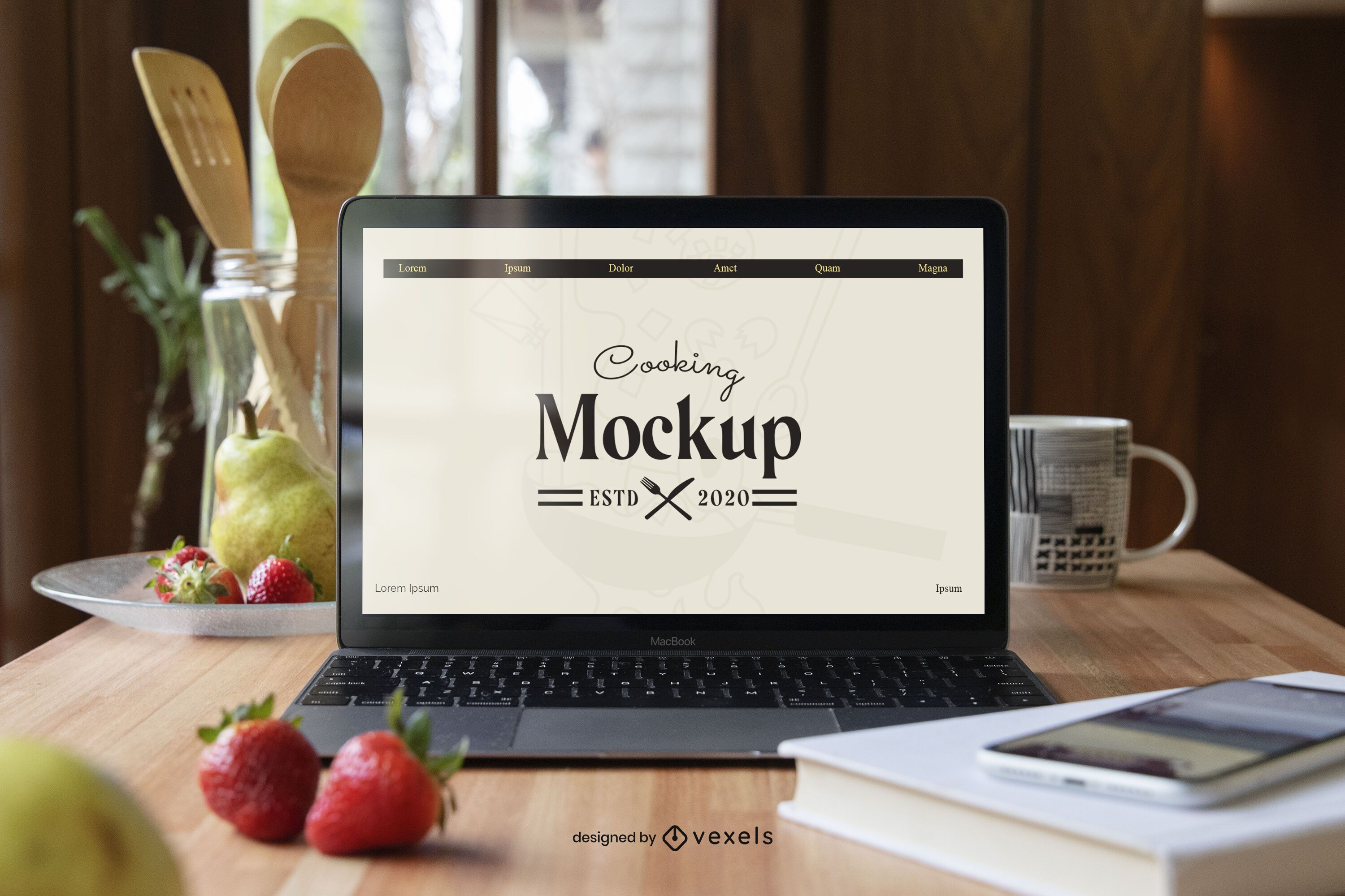 Laptop cooking mockup composition