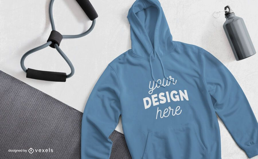 Fitness hoodie mockup composition