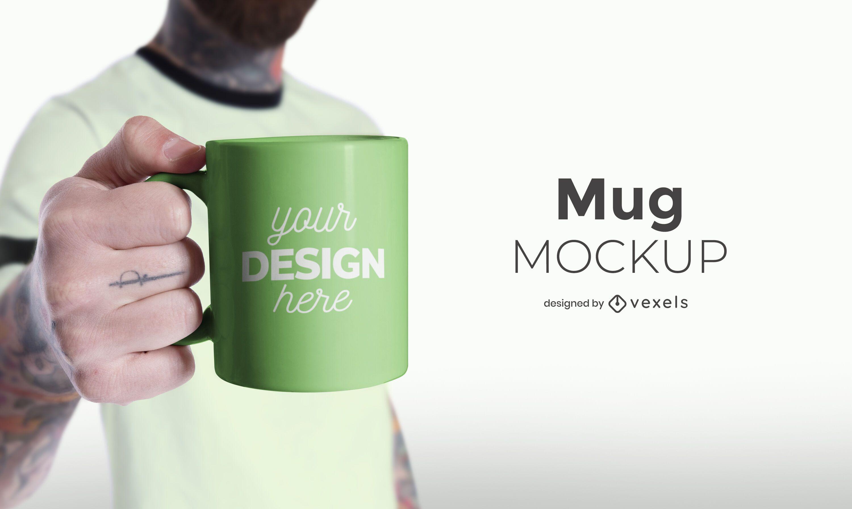 Model holding mug mockup design
