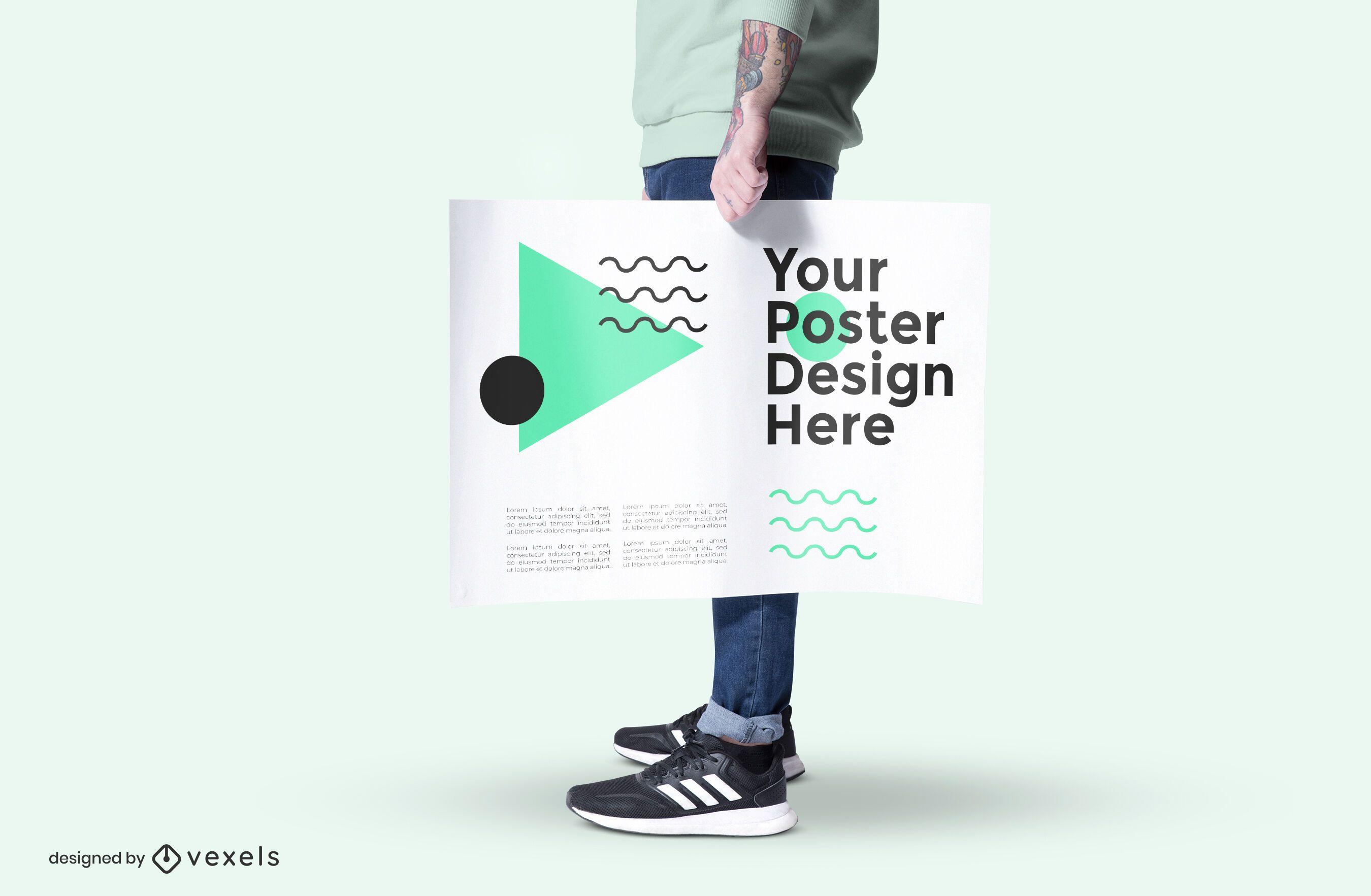 Model holding poster mockup design
