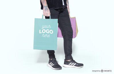 Diseño de maqueta de bolsa de compras