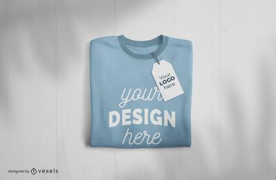 Folded t-shirt and tag mockup design