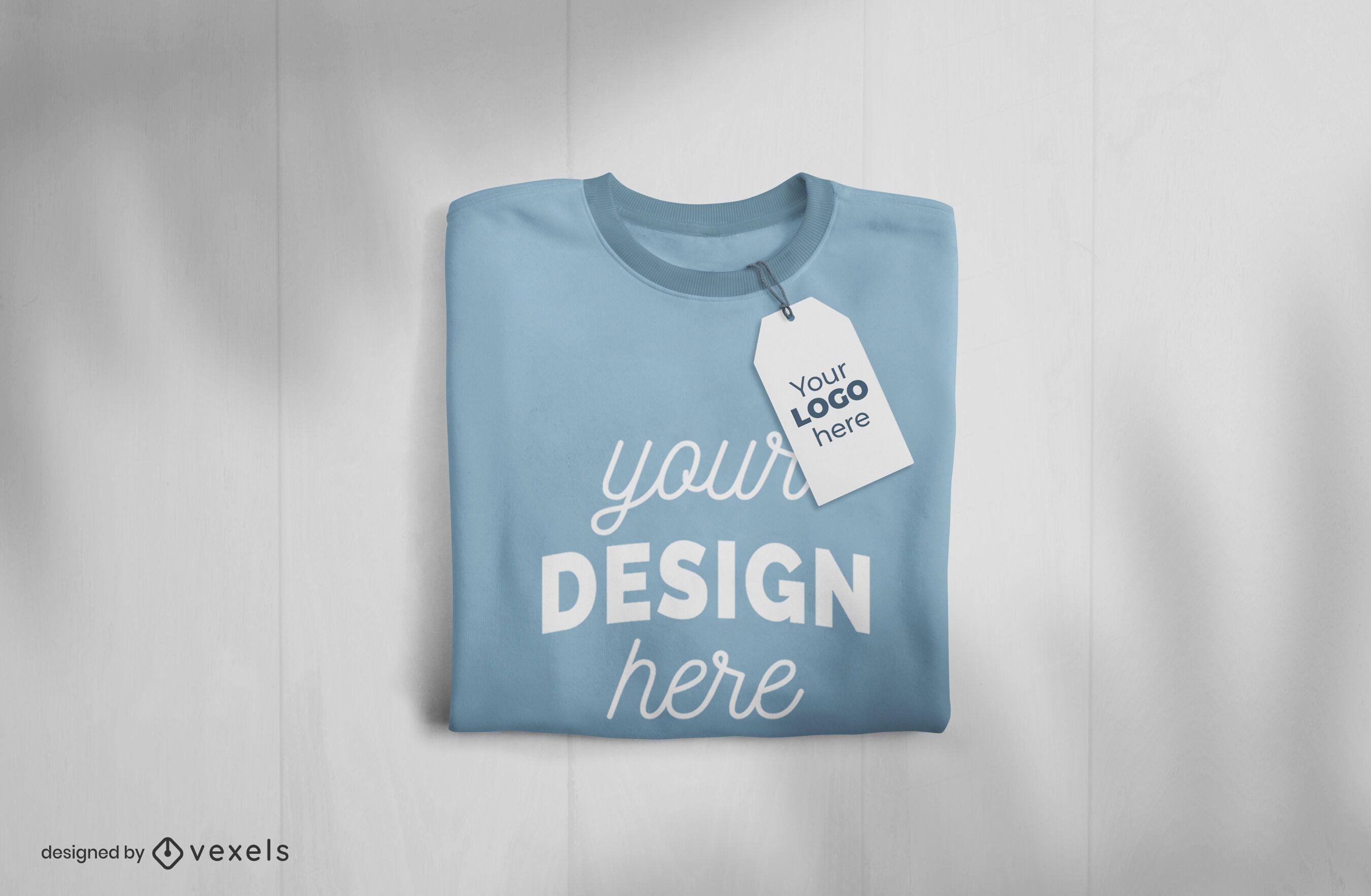 Folded t-shirt and tag mockup design