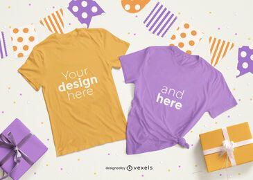 Conjunto de composição de maquete de camiseta de festa