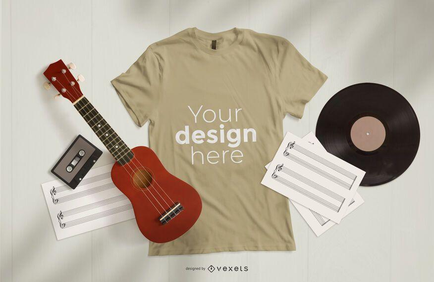 Composição de maquete de camiseta musical