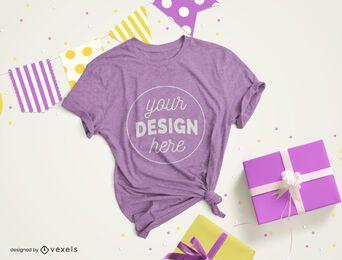 Composição de maquete de camiseta de festa