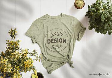 Composição de maquete de t-shirt de plantas