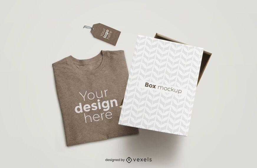 Caixa de camiseta e composição de maquete de tag