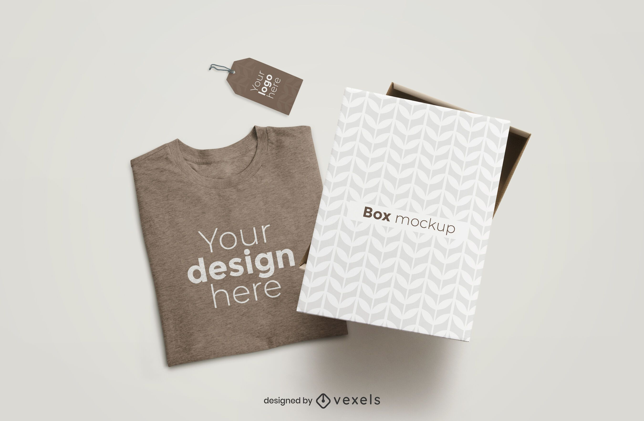 T-shirt box and tag mockup composition