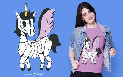 Diseño de camiseta de esqueleto de unicornio