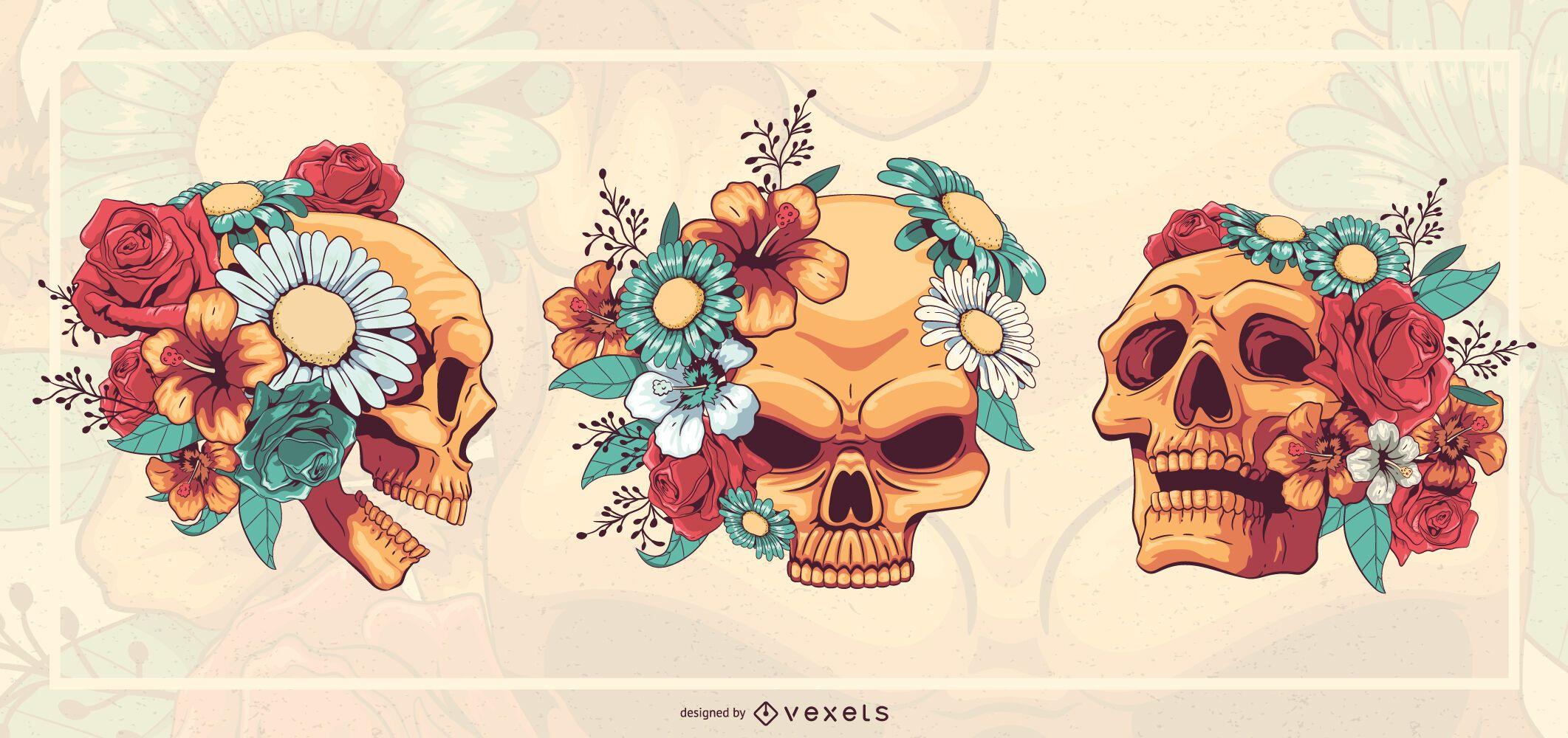 Floral skulls illustration set