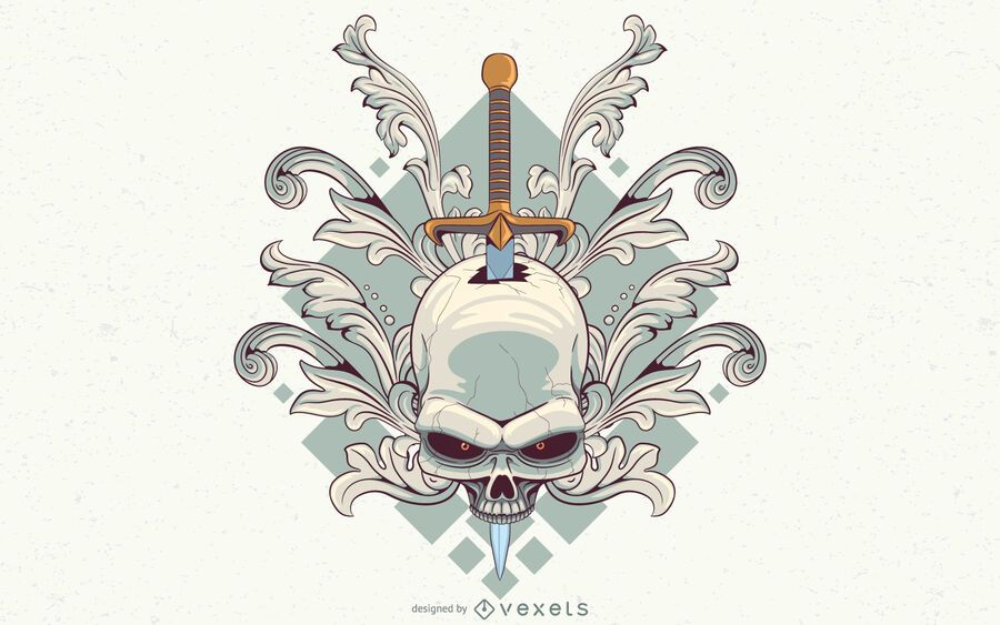 Swirls skull illustration design