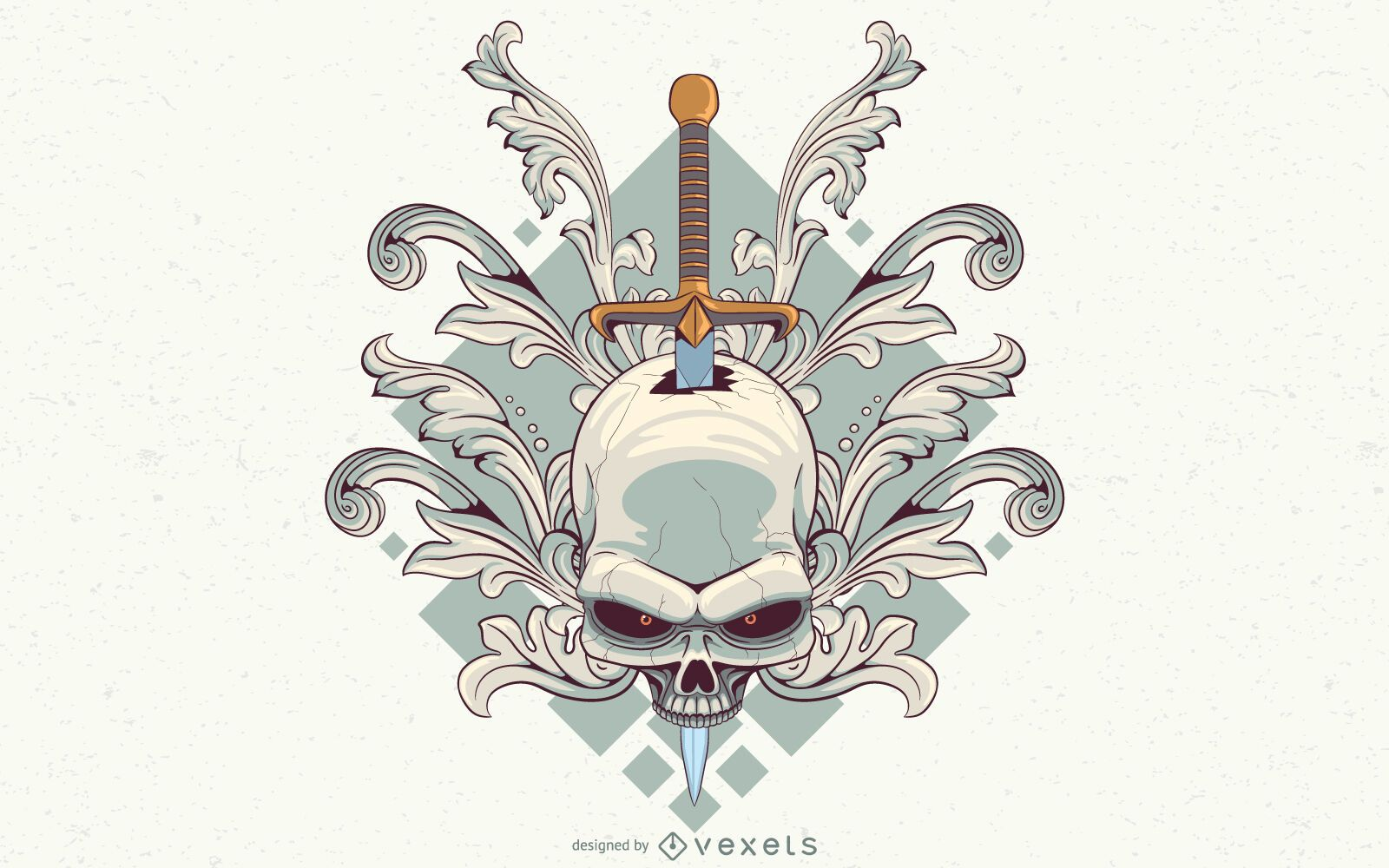 Diseño de ilustración de cráneo de remolinos
