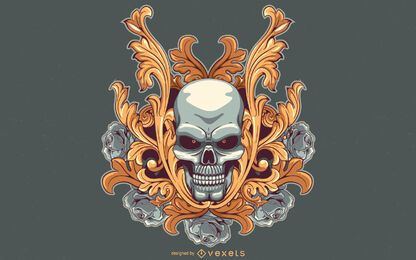 Red eyed skull illustration design