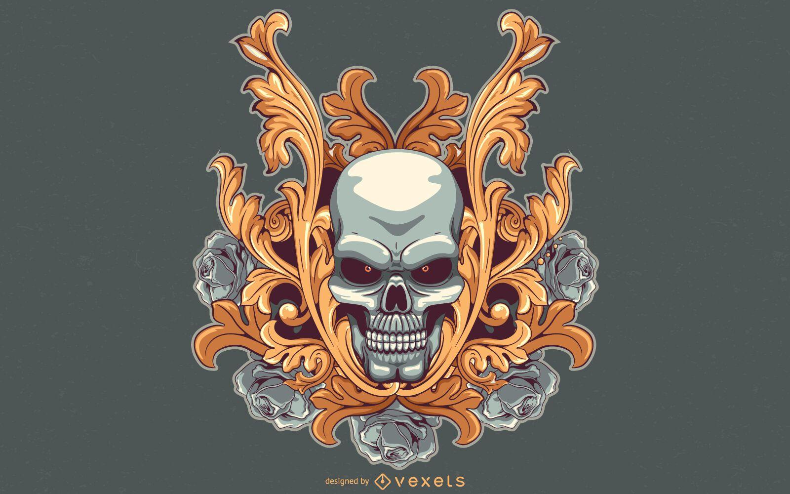 Diseño de ilustración de cráneo de ojos rojos