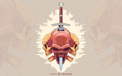 Desenho de ilustração de punhal com crânio perfurado
